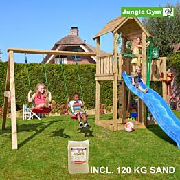 Leikkikeskus Jungle Gym Mansion ja Swing Module X'tra sis. 120 kg hiekkaa ja sinisen liukumäen