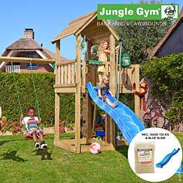 Leikkikeskus Jungle Gym Mansion sis. keinumoduuli, 120 kg hiekkaa ja sininen liukumäki