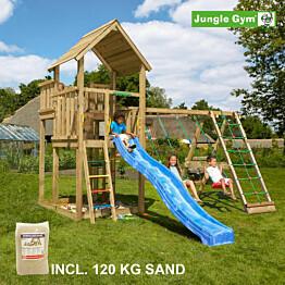 Leikkikeskus Jungle Gym Palace ja Climb Module X'tra sis. 120 kg hiekkaa ja sinisen liukumäen