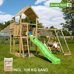 Leikkikeskus Jungle Gym Palace ja Climb Module X'tra sis. 120 kg hiekkaa ja vihreän liukumäen