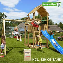 Leikkikeskus Jungle Gym Palace ja Swing Module X'tra sis. 120 kg hiekkaa ja sinisen liukumäen