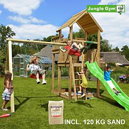 Leikkikeskus Jungle Gym Palace ja Swing Module X'tra sis. 120 kg hiekkaa ja vihreän liukumäen