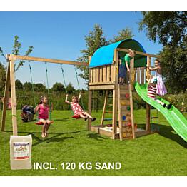 Leikkikeskus Jungle Gym Villa ja Swing Module X'tra sis. 120 kg hiekkaa ja vihreän liukumäen