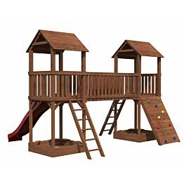 Leikkikeskus Palmako Jesper 4 sis. 2 leikkitornia + hiekkalaatikot + silta + kiipeilyseinä