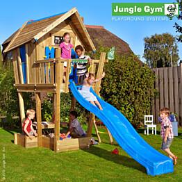 Leikkimökki Jungle Gym Crazy Playhouse sis. jalusta ja sininen liukumäki