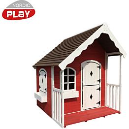 Leikkimökki verannalla Nordic Play, punainen/valkoinen