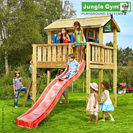 Leikkimökki Jungle Gym Playhouse Tower XL sis. jalusta ja punainen liukumäki