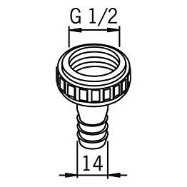 Letkuliitin Oras 223011 G1/2X14 mm kromi