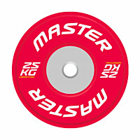 Levypaino Master Fitness Competition Bumper Plate 25 kg punainen