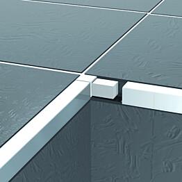 Listan kulmapala Progress Profiles Projolly Square valkoinen alumiini 8mm