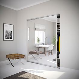 Nettiovi Villa on tilajakaja ja liukuovi kahdella ovella ja teräskehyksellä mittojen mukaan