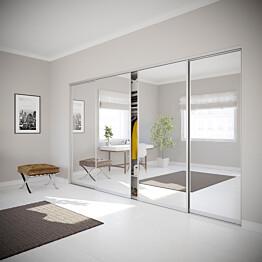 Nettiovi Villa on tilanjakaja ja liukuovi neljällä ovella ja teräskehyksellä mittojen mukaan