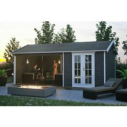 Lomamaja Skan Holz Tilburg + katos vahvuus 28mm 613x380cm (23,29 m²) harmaa
