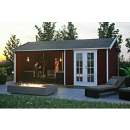 Lomamaja Skan Holz Tilburg + katos vahvuus 28mm 613x380cm (23,29 m²) punainen