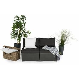 Lounge-sohva Cambridge, 2-istuttava, ilman käsinojia, musta