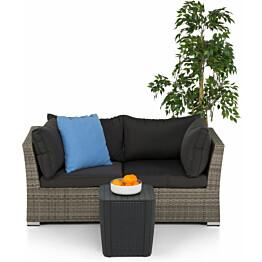 Lounge-sohva Cambridge, 2-istuttava, käsinojilla, harmaa