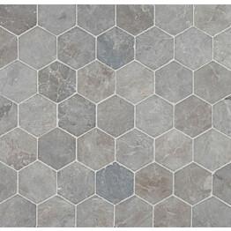Marmorilaatta Qualitystone Hexagon Light Grey 100x100 mm