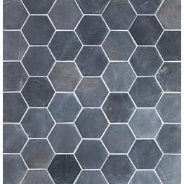 Marmorilaatta Qualitystone Hexagon Gray 100 x 100 mm