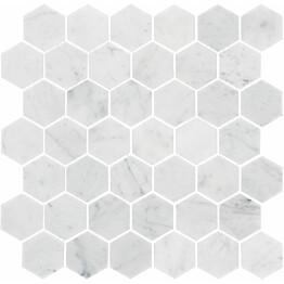 Marmorimosaiikki Bianco Carrara Hexagon kiillotettu 325x315x10 mm