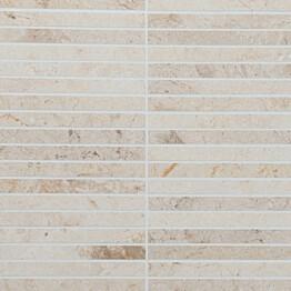 Marmorimosaiikki Qualitystone Crema Light kiiltävä verkolla 305 x 305_15 x 151 mm