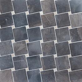 Marmorimosaiikki Qualitystone Diagonal Gray-White verkolla 100x100_20x20 mm