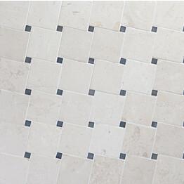 Marmorimosaiikki Qualitystone Diagonal White-Gray verkolla 100x100_20x20 mm