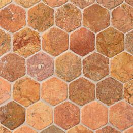 Marmorimosaiikki Qualitystone Hexagon Terra verkolla 60 x 60 mm