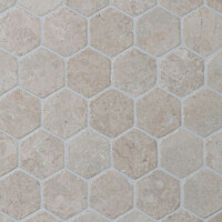 Marmorimosaiikki Qualitystone Hexagon White verkolla 60 x 60 mm