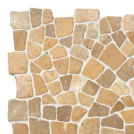 Marmorimosaiikki Qualitystone Mosaic Mustard Interlock verkolla vapaa mitta