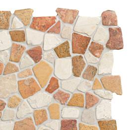 Marmorimosaiikki Qualitystone Mosaic Terra-White Interlock verkolla vapaa mitta