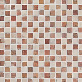 Marmorimosaiikki Qualitystone Square Terra-White verkolla 20 x 20 mm