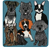 Matto Vallila Doggies, 80x80cm, petrol
