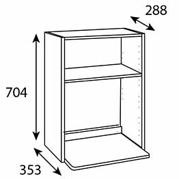 Mikrokaapin runko Ideal Keittiöt 600x704x288 mm