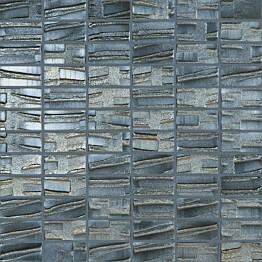 Mosaiikkilaatta LPC Glass Moon Black 659 2,5x5 cm kohokuvio matta lasikuituverkolla musta
