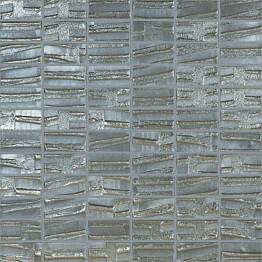 Mosaiikkilaatta LPC Glass Moon Silver 658 2,5x5 cm kohokuvio matta lasikuituverkolla hopea