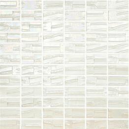 Mosaiikkilaatta LPC Glass Moon White 652 2,5x5 cm kohokuvio matta lasikuituverkolla valkoinen