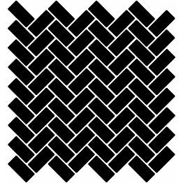 Mosaiikkilaatta LPC Herringbone Gloss Black 6790 2,2x4,7 cm verkolla musta
