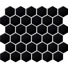 Mosaiikkilaatta LPC Hexagon Musta 5,1x5,9 cm 6-kulmainen verkolla kiiltävä