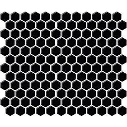Mosaiikkilaatta LPC Hexagon XS Kiiltävä Musta 2,3x2,6 cm 6-kulmainen verkolla