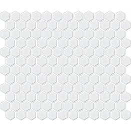 Mosaiikkilaatta LPC Hexagon XS Kiiltävä Valkoinen 2,3x2,6 cm 6-kulmainen verkolla