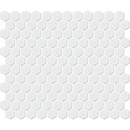 Mosaiikkilaatta LPC Hexagon XS Matta Valkoinen 2,3x2,6 cm 6-kulmainen verkolla