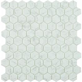 Mosaiikkilaatta LPC Honey Carrara Grey 4300H 3,5x3,5 cm 6-kulmainen lasikuituverkolla harmaa