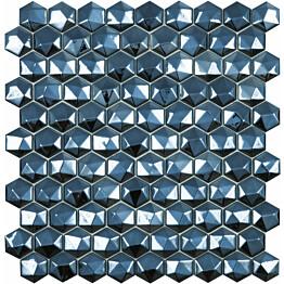 Mosaiikkilaatta LPC Honey Diamond Black 358/D 3,5x3,5 cm 6-kulmainen lasikuituverkolla musta