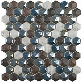 Mosaiikkilaatta LPC Sapelly Mix 3,5x3,5 cm kohokuvio kiiltävä 6-kulma lasikuituverkolla harmaa