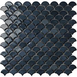 Mosaiikkilaatta LPC Soul Black 6005S 3,6x2,9 cm kohokuvioinen kiiltävä lasikuituverkolla musta