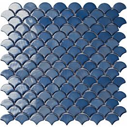 Mosaiikkilaatta LPC Soul Dark Blue 6004S 3,6x2,9 cm kohokuvioinen kiiltävä lasikuituverkolla sininen