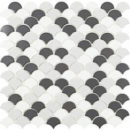 Mosaiikkilaatta LPC Soul Grey Mix 6106S/6110S/6005S 3,6x2,9 cm kohokuvio matta lasikuituverkolla harmaa