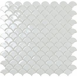 Mosaiikkilaatta LPC Soul White 6000S 3,6x2,9 cm kohokuvio kiiltävä lasikuituverkolla valkoinen