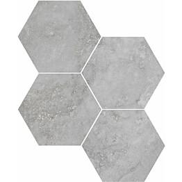 Mosaiikkilaatta Pukkila Italian Icon Grey Esagoni 6-kulmainen himmeä sileä 111x98 mm