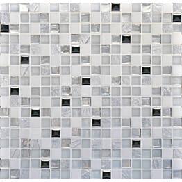 Mosaiikkilaatta Pukkila Lasi-luonnonkivimosaiikki Alin Valkoinen himmeä struktuuri 15x15 mm